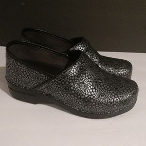 Dansko Black and Silver Clogs Size 38